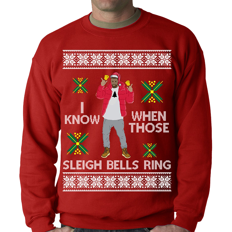 hip hop ugly christmas sweaters, drake hotline bling ugly sweater, sleigh bells ring