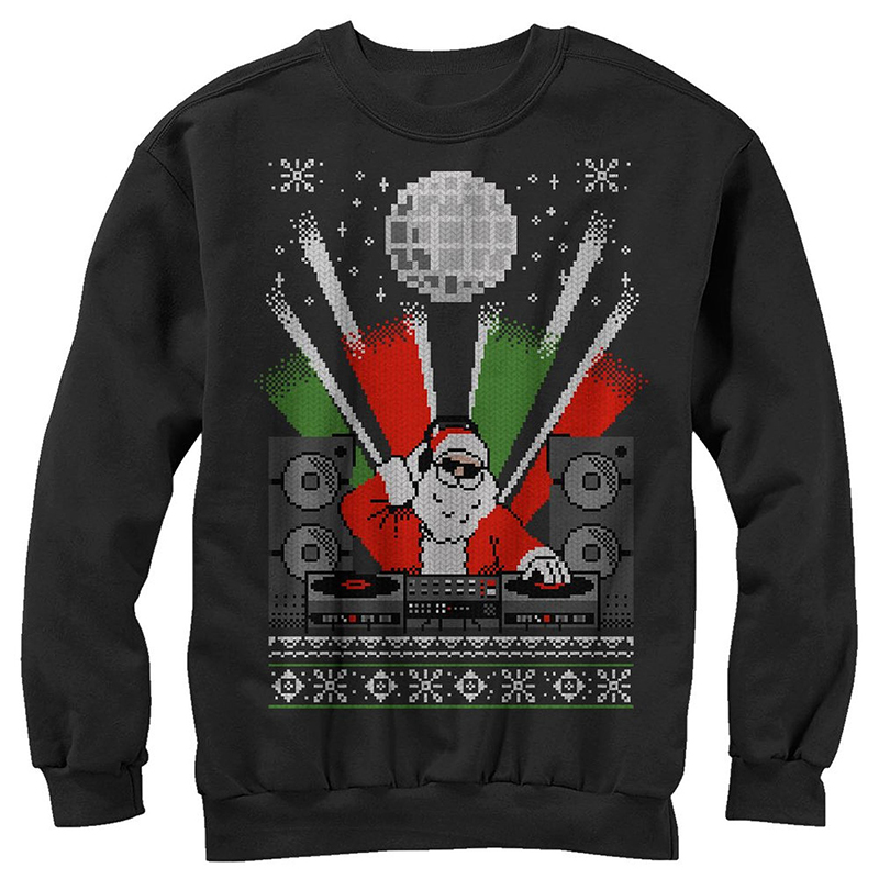 hip hop ugly christmas sweaters, santa clause dj ugly sweater